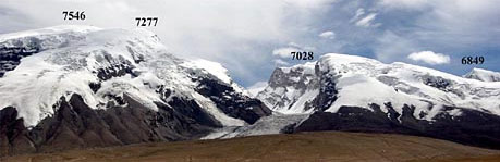 Музтаг-Ата, Калаксонг, Коскулак, пик 6849 с запада